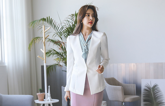 Cutting Slim Line No-collar Jacket
