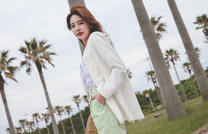 Basic Tailored Square Belted Linen Jacket