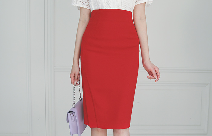 Diagonal Cutting High-Waist H-line Skirt