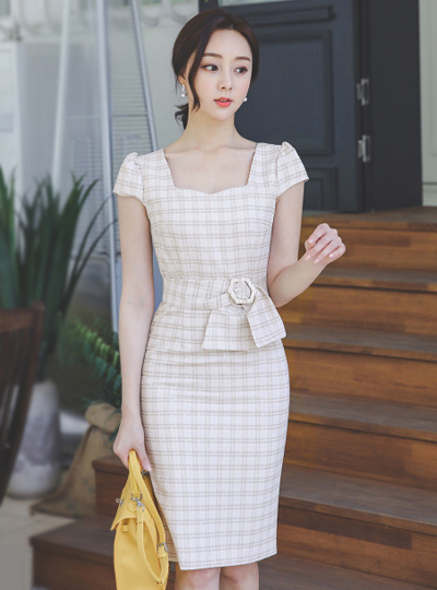 Heart Neck Cap-Sleeves Belted Check Dress