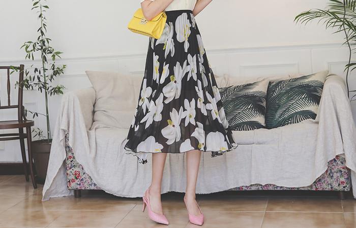 Pleats Flower Printing Banding Long Skirt