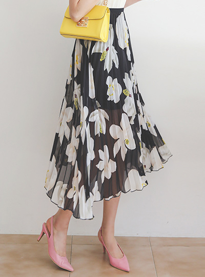 Pleats Flower Printing Banding Long Skirt
