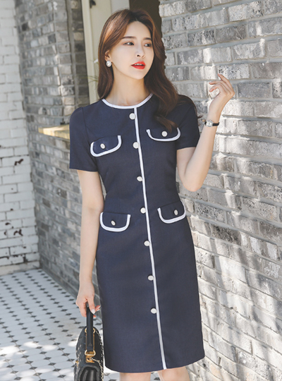 Bias Pocket Button Line Span Dress