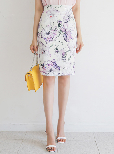 Drawing Flower Slim Skirt
