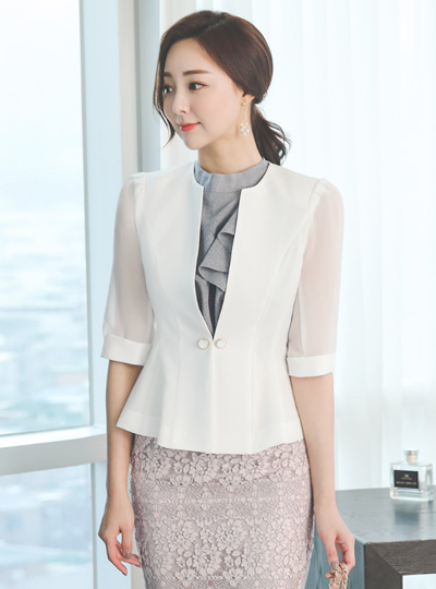 Luxury Gold Line Button See-through Sleeves Jacket