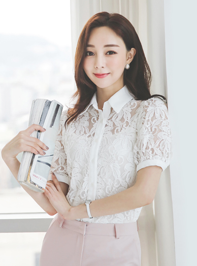 Flower Lace Cotton Short Sleeves Blouse