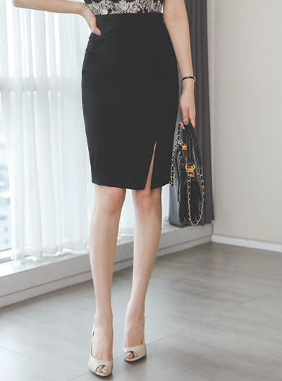 Simple Side Slit H-line Span Skirt