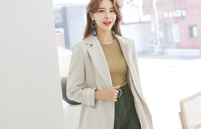 Modern Chic Belted Linen Blend Jacket