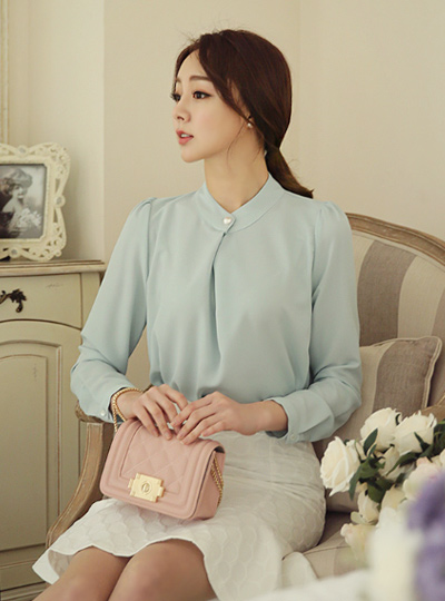 Folded Pearl Button Blouse
