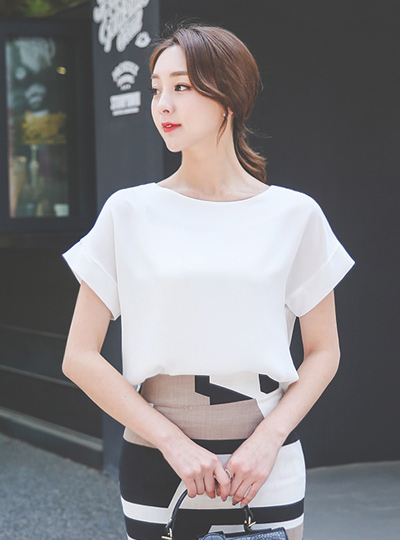 simple Boat Neck Blouse