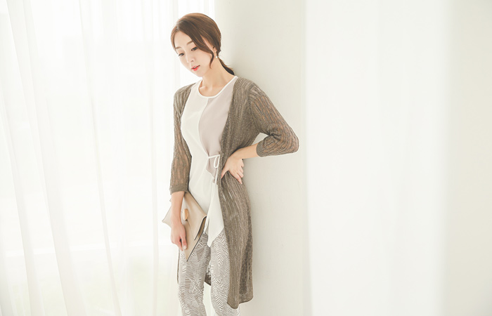 See-through look Corrugated 7 Part Long Cardigan