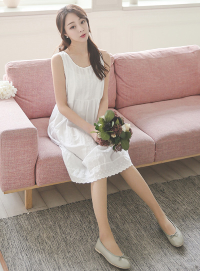 White Eyelet Sleeveless Dress