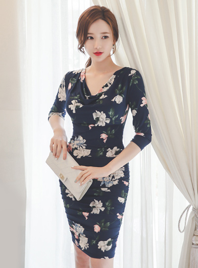 Silky Flower Ruched Cowl Dress