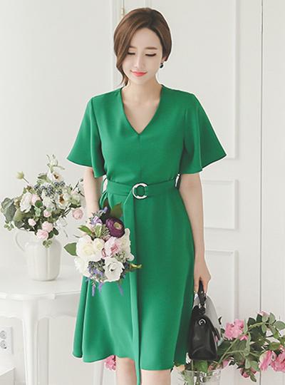 Greenery wing Sleeve Flare Dress