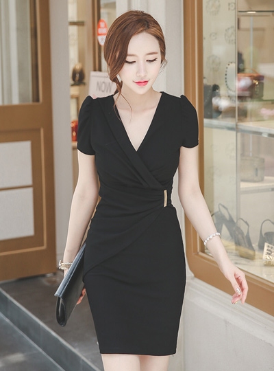 Intense Sexy Shirring Wrap Dress (Short Sleeve)