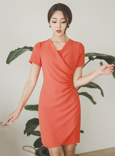 Pinch Shirring Wrap Dress (Short Sleeve)
