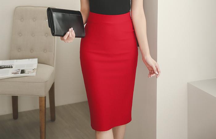 Back Slit Cotton span Midi Skirt