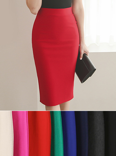 Back Slit Cotton span Midi Skirt