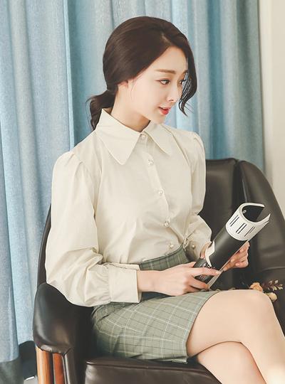 Pearl Button Volume Sleeve Shirt Blouse