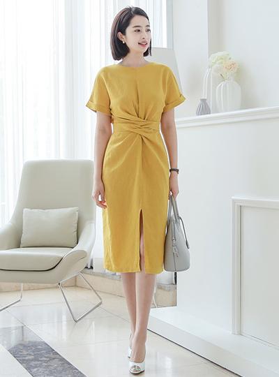 Twist Ribbon Linen Dress