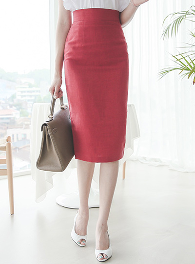 Slim high waist Midi Linen Skirt