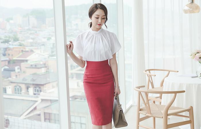 Slim high waist Midi Linen Skirt