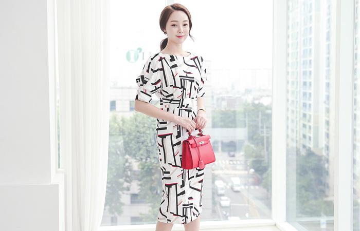 Color Stick Midi Linen Dress