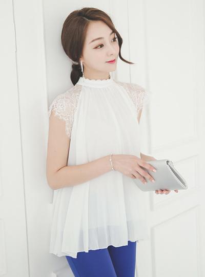 Race cap sleeve Pleats long blouse