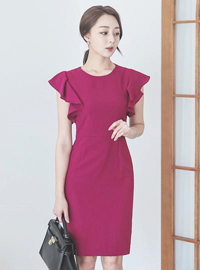 Miel Wing Ruffle Slim Dress