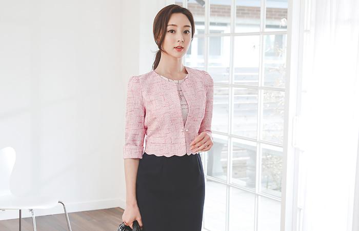 Imitation Pearl Wave Bolero Linen Tweed Jacket