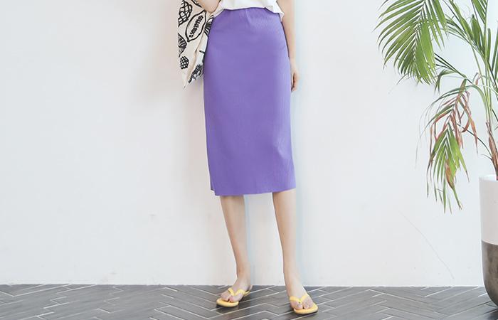 Daily Hair band Corduroy Long Color Skirt