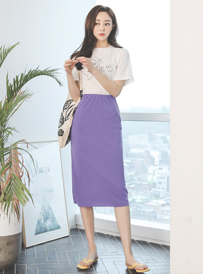 Daily Hair band Corduroy Long Color Skirt