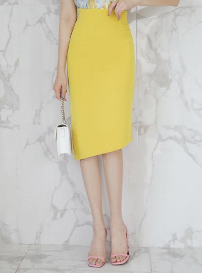 Back Slit Unbalance Diagonal H-line Skirt