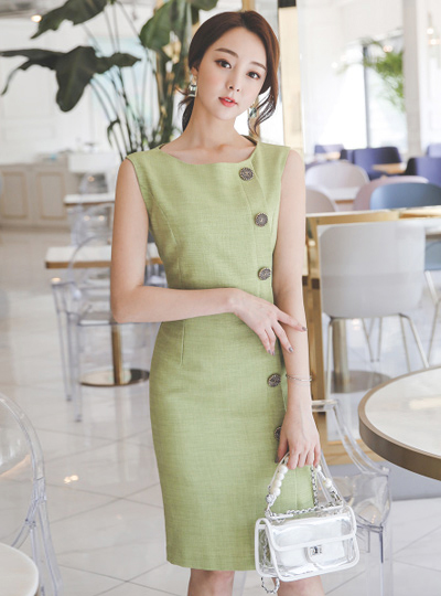 Linen Fabric Antique Button H-line Dress