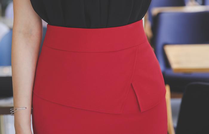 Triple Peplum H-line Span Skirt