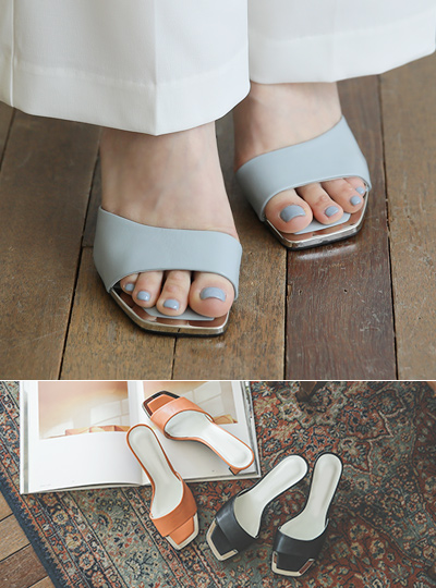 Square Color Slipper Heels