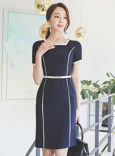 Square Neck Line Color Combination Belted Dress