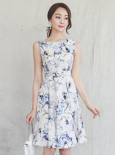 Fantasy Flower Satin Flared Dress