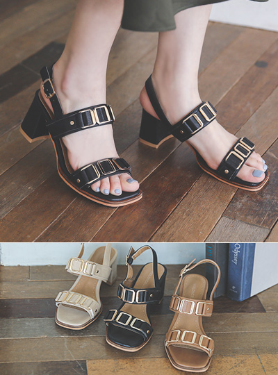 Double Quartz Square Strap Sandal Heel