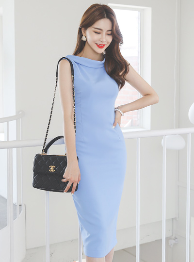 Turtleneck Sleeveless Slim Span Dress
