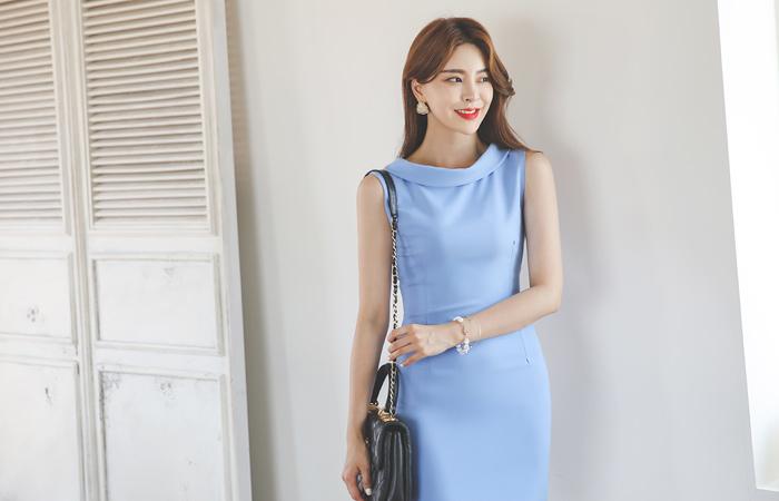 Turtleneck Sleeveless Slim Span Dress