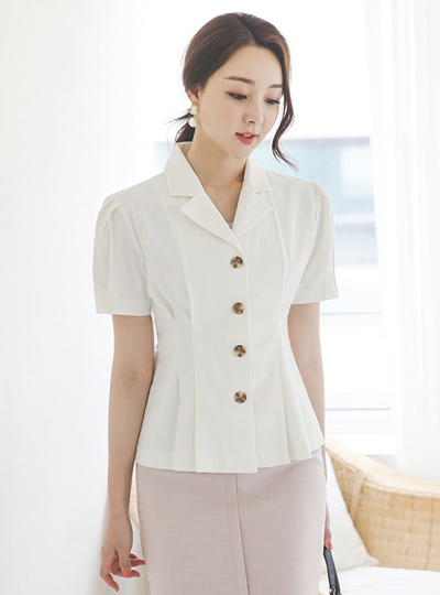 Puff Antique-Buttons Pintuck Span Linen Jacket