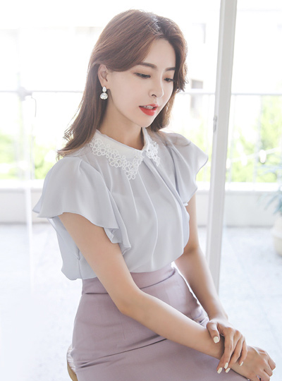 Pearl Cubic Embroidery-Collar Ruffle Sleeves Blouse