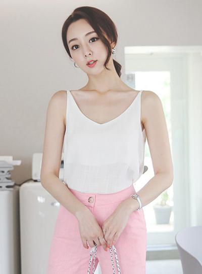 Bustier Deep V-neck Cotton Blouse