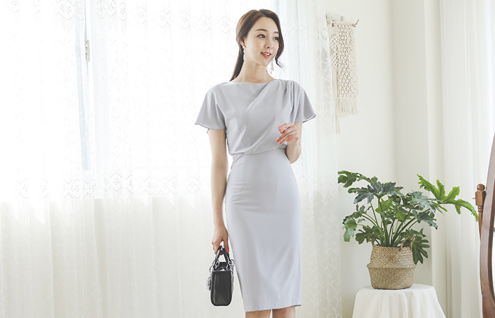 Draping French Sleeves Span Dress