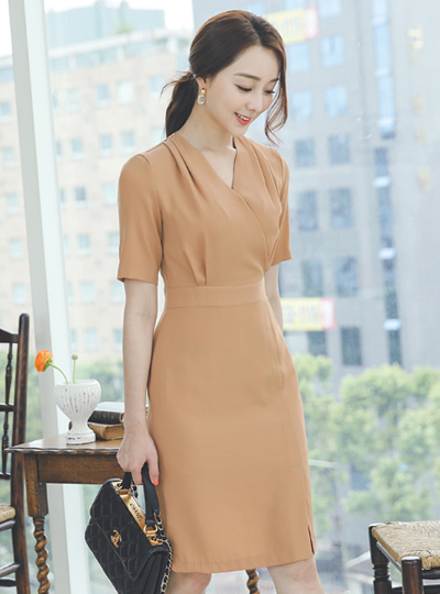 Pintuck Shirring Wrap Style Slim Dress