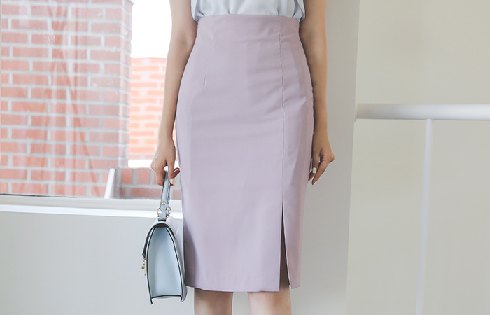 Skirt high waist edge teuim