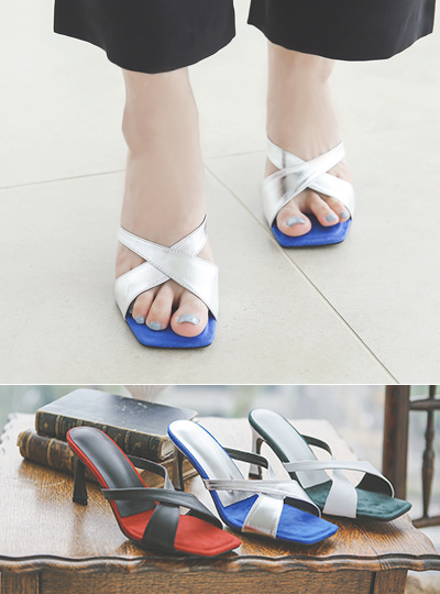 Suede Cobination Color Combination Sandal Heel