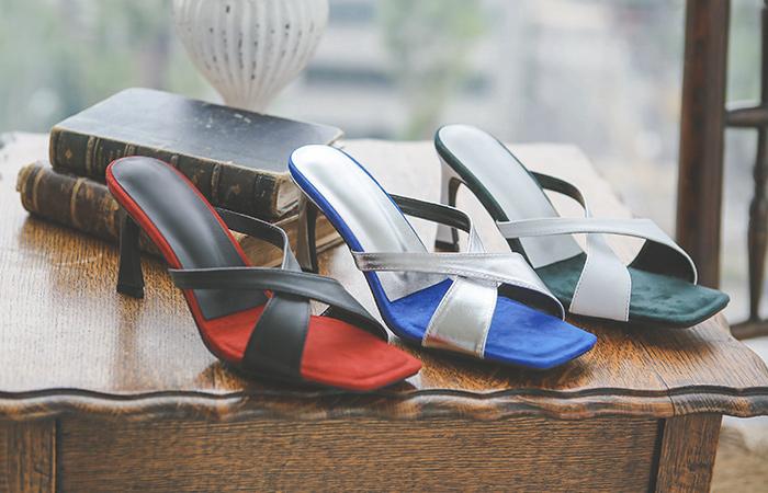 Suede Cobination Color Combination Sandal Heel