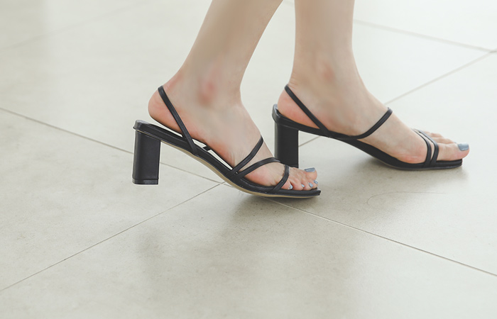 Two-way Color Strap Sandal Heel